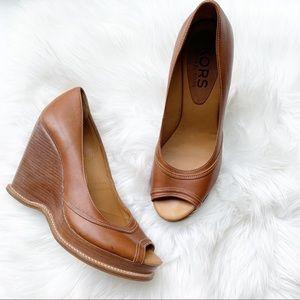 Michael Kors Leather Peep Toe Wedge Heel Shoe
